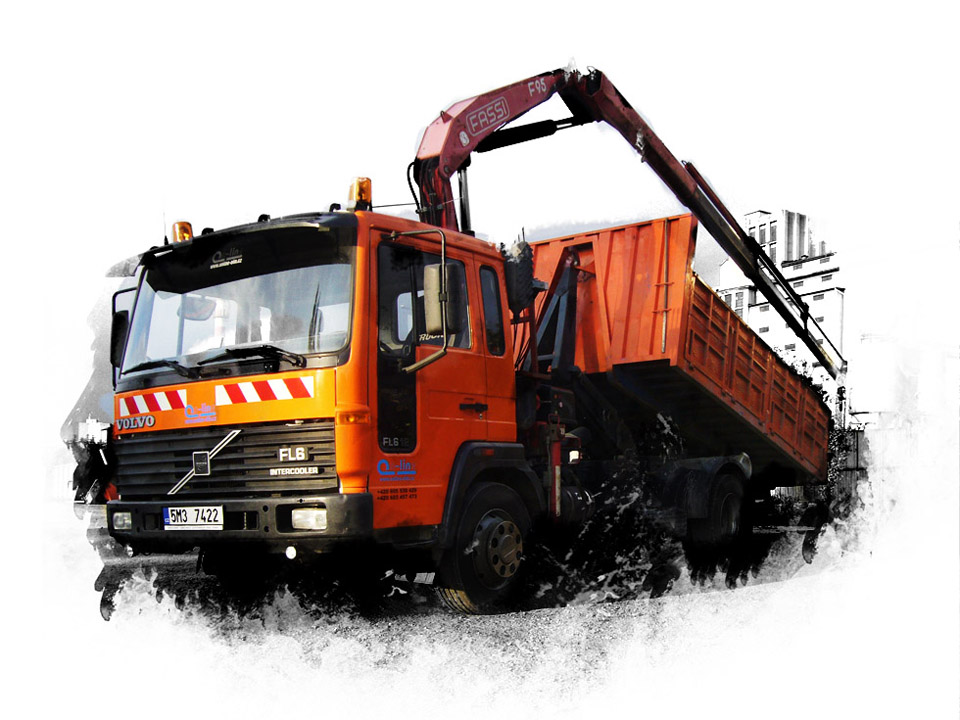 autodoprava a kontejnery s hydraulickou rukou