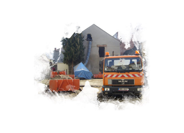 Shozy stavebních sutí v procesu