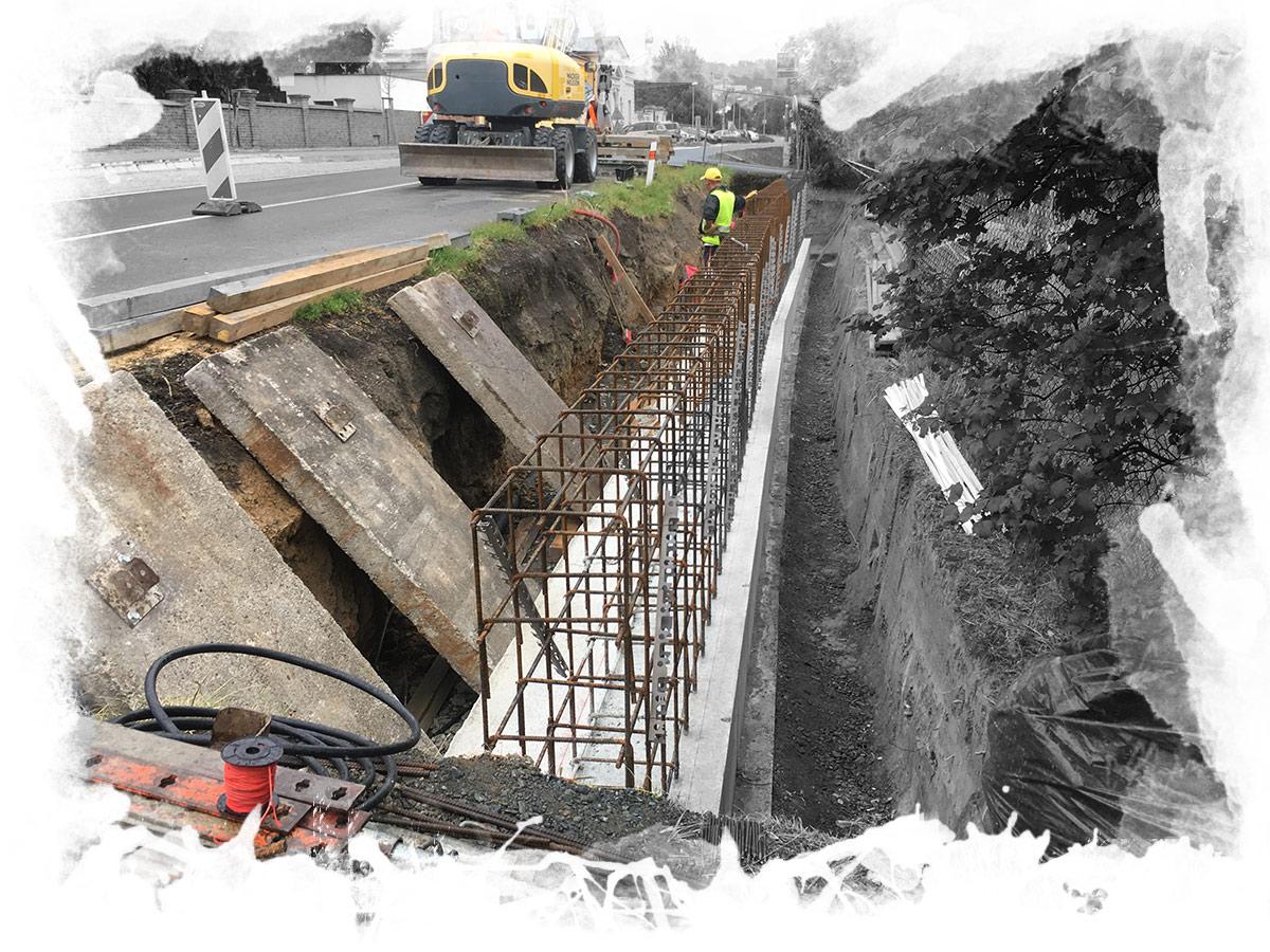 betonové, monolitické konstrukce, opěrné zdi