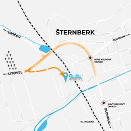mapa k prodejně Online Olin